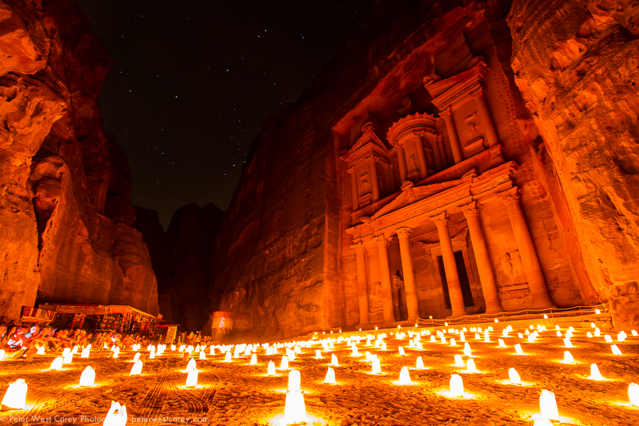 The Treasury At Petra By Candle Light