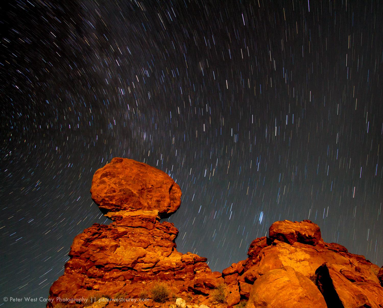 Stars Over Balanced Rock, Arches National Park, Utah, USA