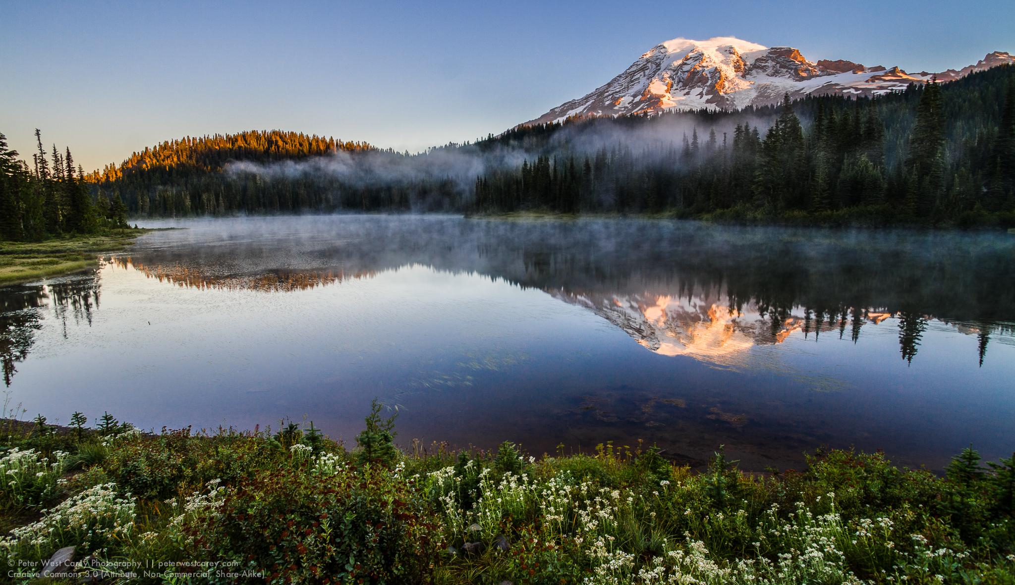 Mount Rainier And Reflection Lakes At Sunrise, Washington, USA,