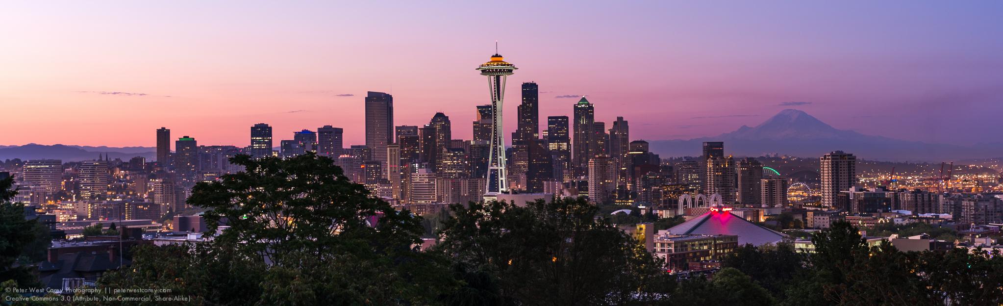 Panorama: Before Sunrise In Seattle, Washington, USA